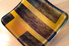 Amber & black/gold iridescent trinket dish.