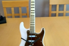 Stratocaster on a stand.
